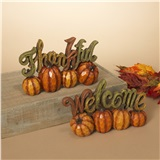 11in. Resin Harvest Pumpkin Sign 2 Asst
