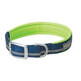 COLLAR NYLON BL/GR 1X21 1- Woven-in reflective safety stripe for visibility <br />2- Rugged nylon construction <br />3- Doubled and stitched for durability <br />4- Neoprene lining for extra cushion and comfort