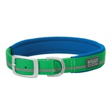 COLLAR NYLON GREEN 1X23 1- Woven-in reflective safety stripe for visibility <br />2- Rugged nylon construction <br />3- Doubled and stitched for durability <br />4- Neoprene lining for extra cushion and comfort