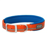 COLLAR NYLON ORANGE 1X23 1- Woven-in reflective safety stripe for visibility <br />2- Rugged nylon construction <br />3- Doubled and stitched for durability <br />4- Neoprene lining for extra cushion and comfort