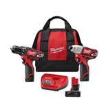 Milwaukee M12 Lithium-Ion Cordless Drill/Impact Driver Kit