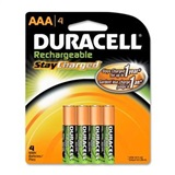 DURACELL 4 PACK AAA RECHARGEABLE BATTERIES